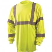 Occunomix LUX-LSETP3B Class 3 Wicking Birdseye Mesh Long Sleeve Safety T-Shirt - Yellow/Lime