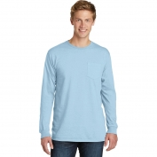Port & Company PC099LSP Essential Pigment-Dyed Long Sleeve Pocket Tee - Glacier