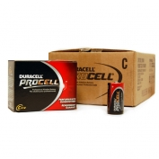 PROCELL C Batteries by Duracell, Alkaline, Case 72