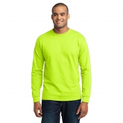 Port & Company PC55LS Long Sleeve 50/50 Cotton/Poly T-Shirt - Safety Green