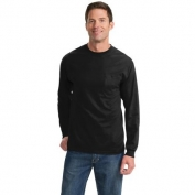 Port & Company PC61LSPT Tall Long Sleeve Essential T-Shirt with Pocket - Jet Black