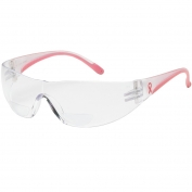 Bouton 250-12 Lady Eva Readers Safety Glasses - Pink Temples - Clear Bifocal Anti-fog Lens