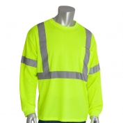 PIP 313-1300 Class 3 Long Sleeve Safety T-Shirt - Yellow/Lime