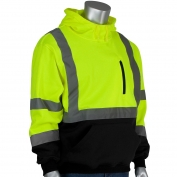 PIP 323-1350B Class 3 Hooded Pullover Safety Sweatshirt with Black Bottom - Yellow/Lime