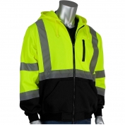PIP 323-1370B Class 3 Full Zip Hooded Safety Sweatshirt with Black Bottom - Yellow/Lime