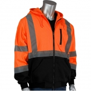PIP 323-1370B Class 3 Full Zip Hooded Safety Sweatshirt with Black Bottom - Orange