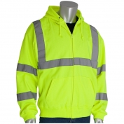PIP 323-HSSE Class 3 Hooded Safety Sweatshirt - Yellow/Lime