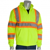 PIP 323-HSSP Class 3 Two-Tone Hooded Safety Sweatshirt - Yellow/Lime