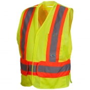 Pyramex RCA2710SE Class 2 Adjustable Breakaway Two-Tone X-Back Self Extinguishing Mesh Safety Vest - Yellow/Lime