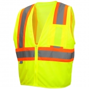 Pyramex RVZ2210SE Class 2 Self Extinguishing Two Tone Mesh Safety Vest - Yellow/Lime