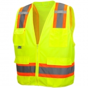 Pyramex RVZ2410SE Class 2 Two-Tone Self Extinguishing Surveyor Safety Vest - Yellow/Lime