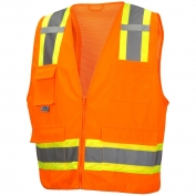 Pyramex RVZ2420SE Class 2 Two-Tone Self Extinguishing Surveyor Safety Vest - Orange