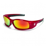 Crews Swagger Safety Glasses - Red Frame - Fire Mirror Lens