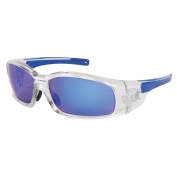 Crews Swagger Safety Glasses - Clear Frame - Blue Mirror Lens