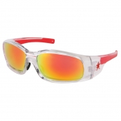 Crews Swagger Safety Glasses - Clear Frame - Fire Mirror Lens