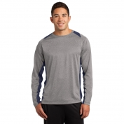 Sport-Tek ST361LS Long Sleeve Heather Colorblock Contender Tee - Vintage Heather/True Navy