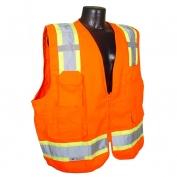 Radians SV62-2ZOT Class 2 Solid Twill Heavy Duty Surveyor Safety Vest - Orange