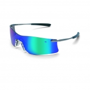 Crews Rubicon Safety Glasses - Silver Metal Temples - Emerald Mirror Lens