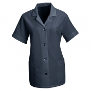 Red Kap Women\\\'s Loose Fit Short Sleeve Smock - Button Front - Navy