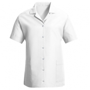 Red Kap Women\\\'s Loose Fit Short Sleeve Smock - Gripper Front - White