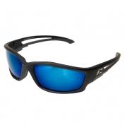 Edge TSKAP218 Kazbek Safety Glasses - Black Rubberized Frame - Blue Mirror Polarized Lens