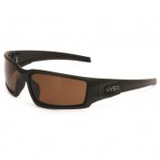 Uvex S2949 Hypershock Safety Glasses - Matte Black Frame - Espresso Polarized Lens