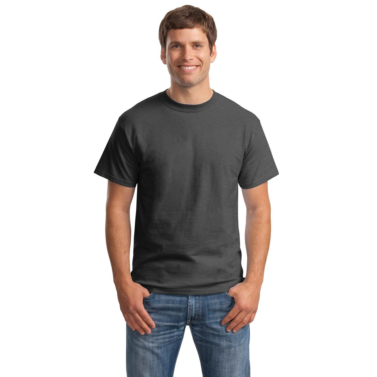 Hanes 5180 beefy t cotton t shirt charcoal heather for Hanes beefy t custom shirts