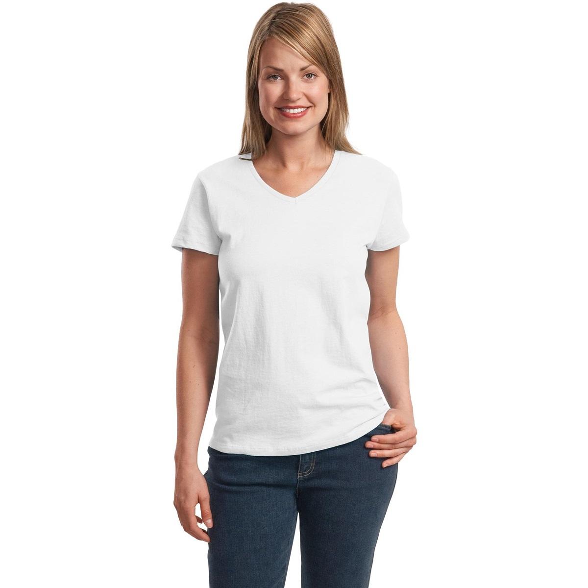 Hanes 5780 Ladies Comfortsoft V Neck T Shirt White