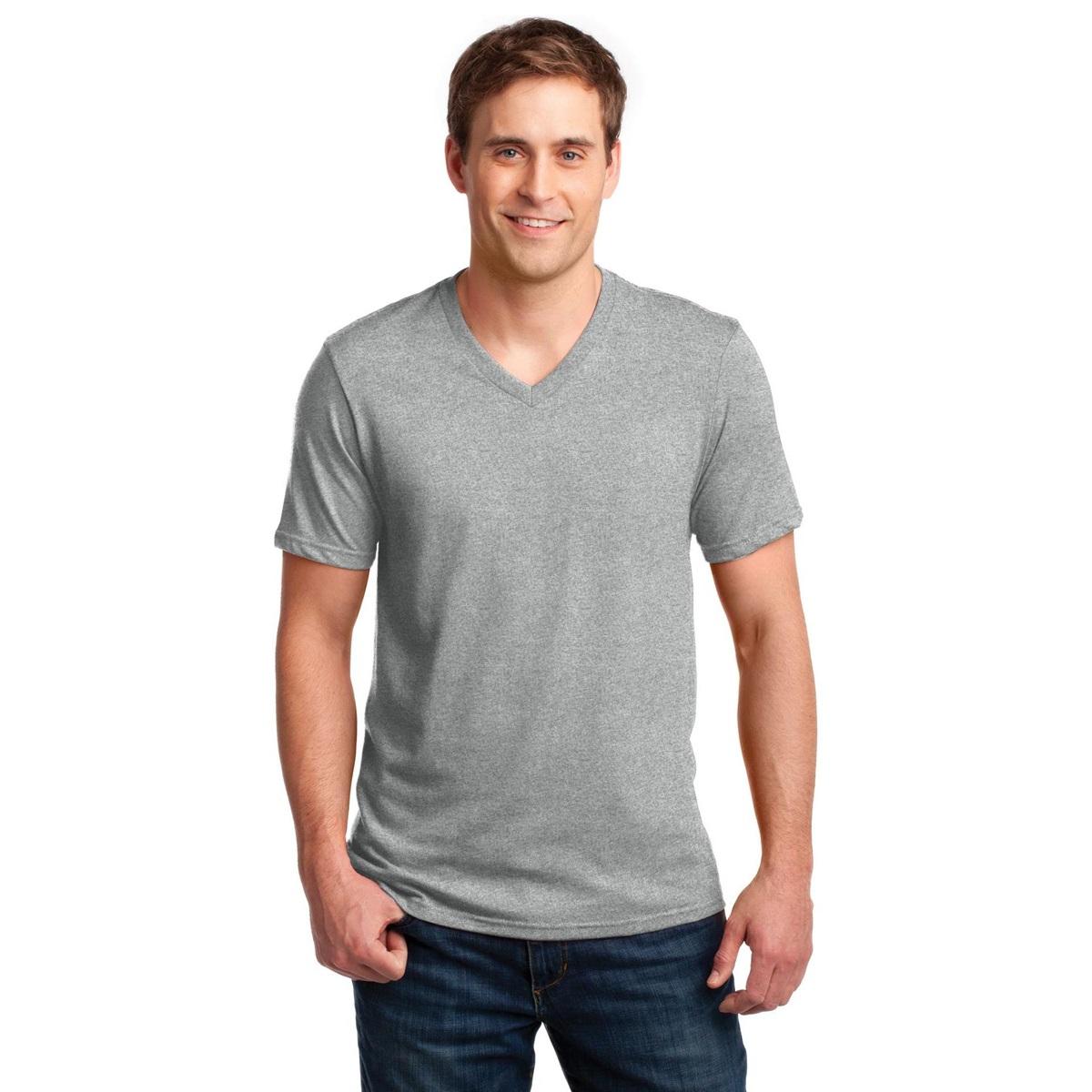 Anvil 982 Ring Spun Cotton V Neck T Shirt Heather Grey