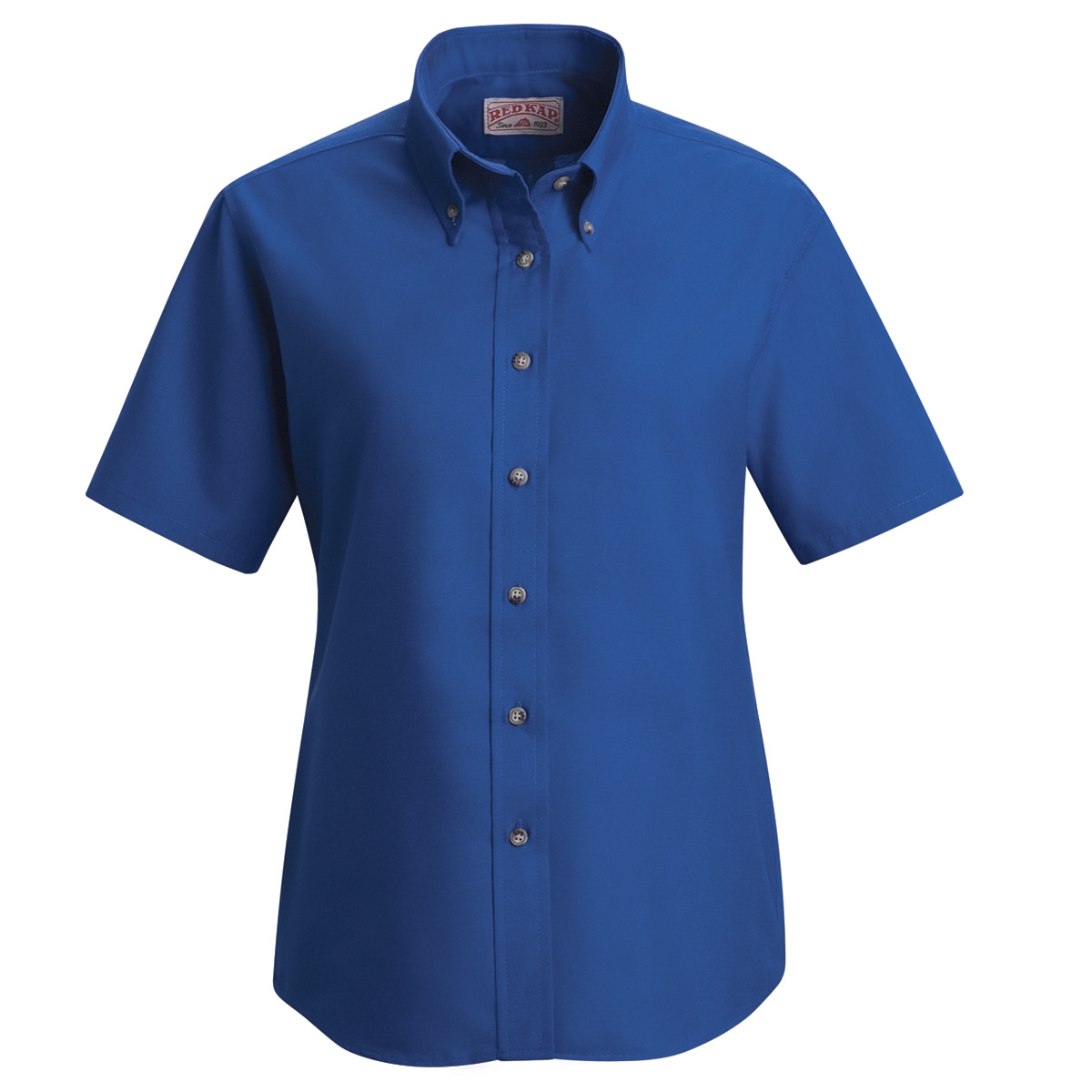Red kap women 39 s poplin dress shirt short sleeve royal for Royals button up shirt