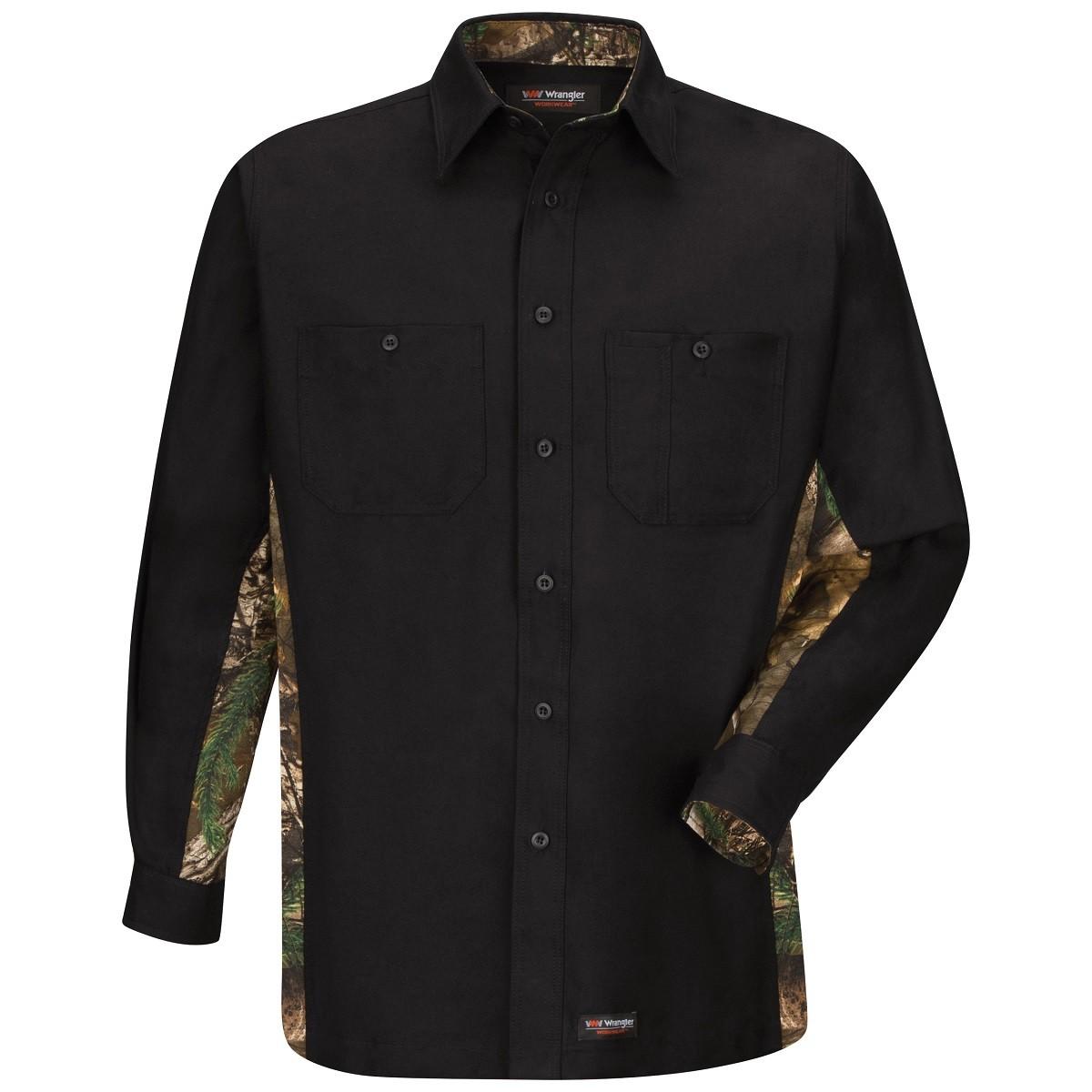 Wrangler ws30 men 39 s long sleeve camo work shirt black for Black long sleeve work shirt
