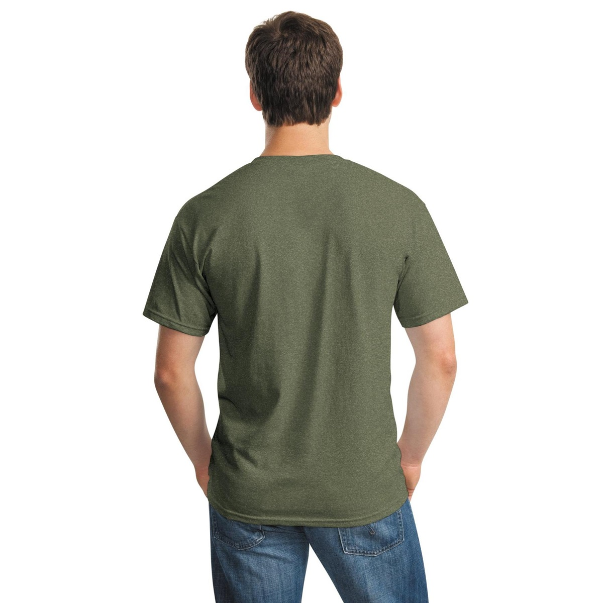 Gildan 5000 heavy cotton t shirt heather military green for Gildan camouflage t shirts