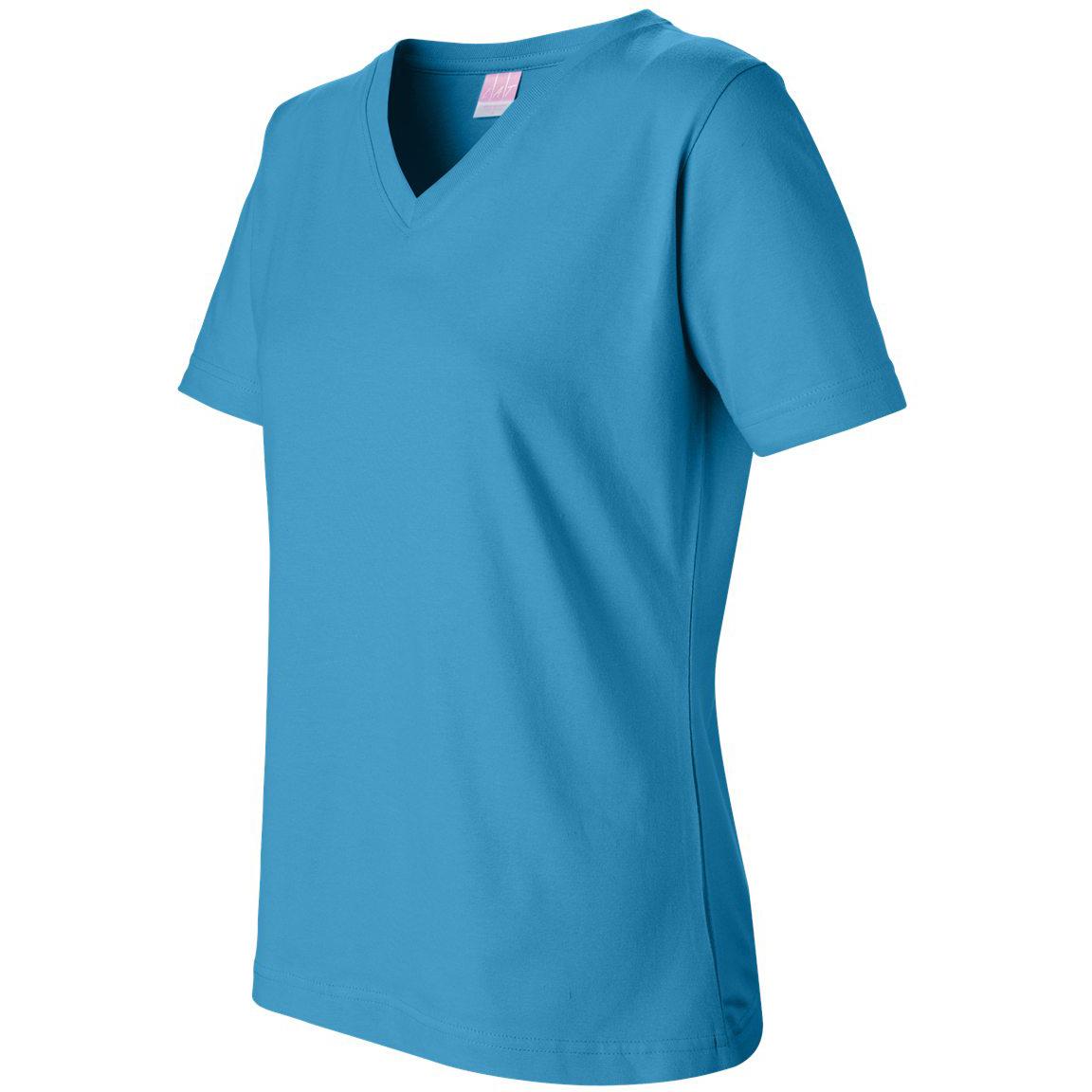 Lat 3587 women 39 s short sleeve v neck t shirt turquoise for Aqua blue color t shirt
