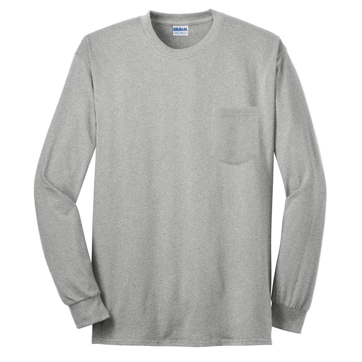 Gildan 2410 ultra cotton long sleeve t shirt with pocket for Grey long sleeve shirts