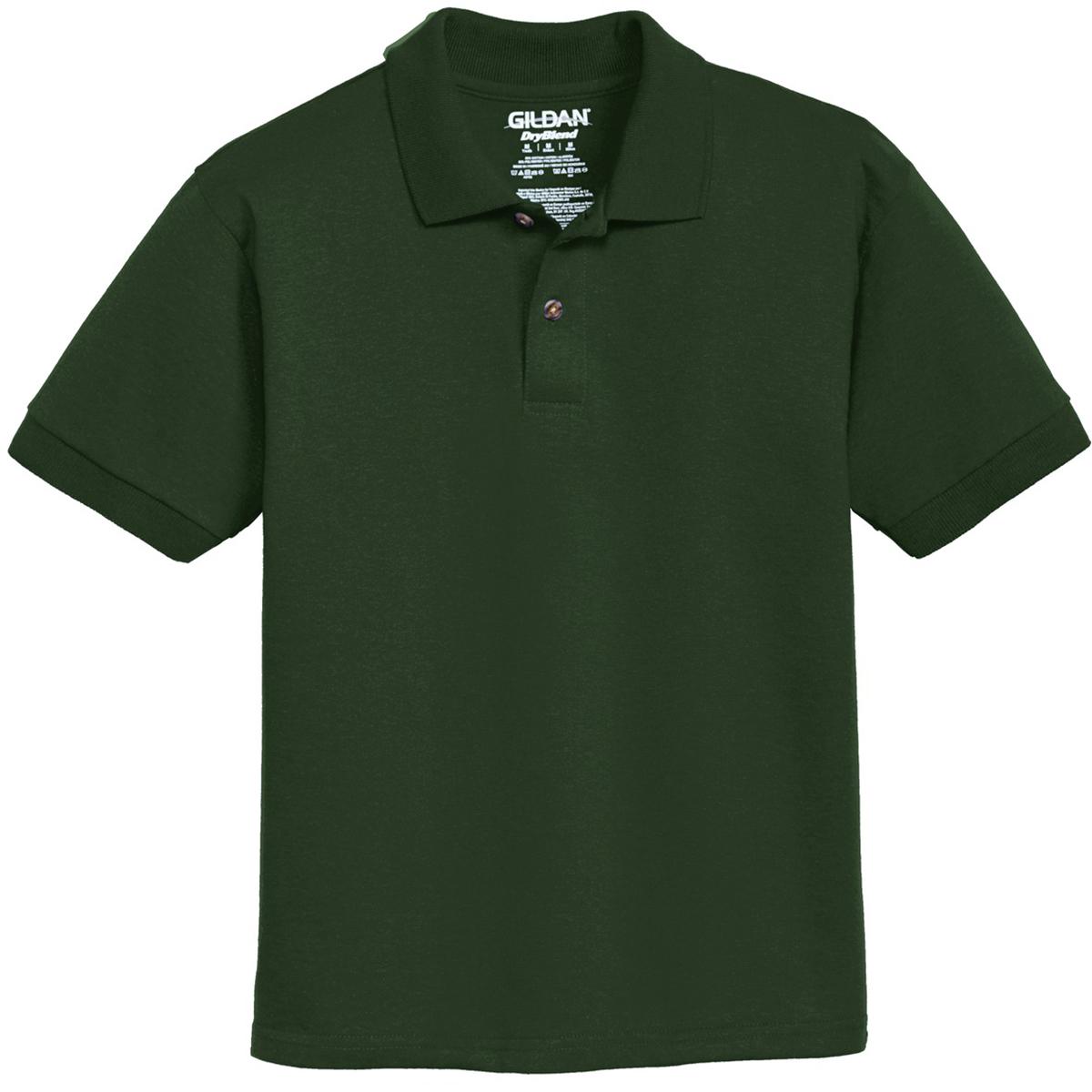 Gildan 8800b youth dryblend jersey knit sport shirt for Forest green polo shirts