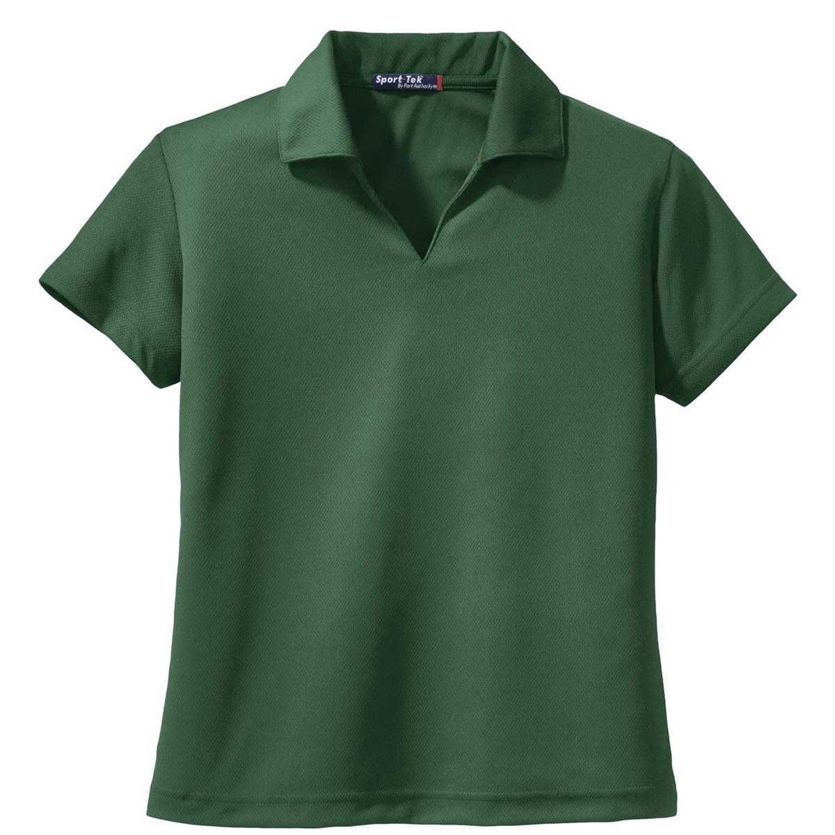Sport Tek L469 Ladies V Neck Polo Shirt Forest Green