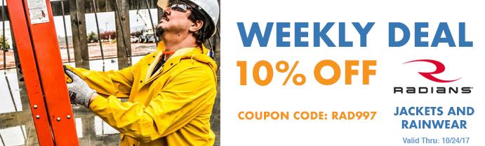 Weekly Deal - Save on Radians Jackets and Rainwear - Valid Thru 10/24