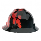 MSA V-Gard Hard Hat Full Brim- Canadian Black with Red Maple Leaf