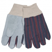 Memphis 1040 Clute Style Split Cow Leather Palm Gloves - Knit Wrist - Red/Gray Stripe Fabric