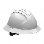 JSP Evolution 6161 Deluxe Full Brim Hard Hat - Wheel Ratchet Suspension - White