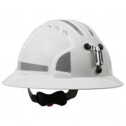 JSP Evolution 6161MCR2 Deluxe Full Brim Reflective Mining Hard Hat - Wheel Ratchet Suspension - White