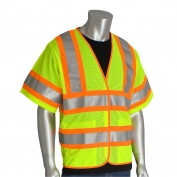 PIP 305-HSVPFR Class 3 FR Treated Two-Tone Mesh Safety Vest - Yellow/Lime