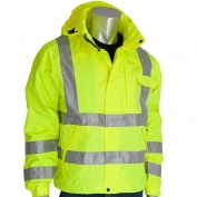 PIP 353-2000-LY Class 3 Heavy Duty Waterproof Breathable Rain Jacket - Yellow/Lime