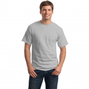 Hanes 5590 Tagless Cotton T-Shirt with Pocket - Light Steel