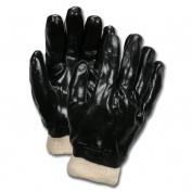 Memphis  6100 Single Dipped PVC Coated Gloves - Knit Wrist - Interlock Lined - Black