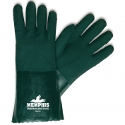 Memphis 6414 Double Dipped PVC Coated Gloves - Jersey Lined - Green - 14 inch