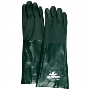 Memphis 6418 Double Dipped PVC Coated Gloves - Jersey Lined - Green - 18 inch
