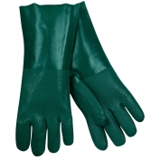 Memphis 6424 Double Dipped PVC Coated Gloves - Jersey Lined - Green - 14 inch