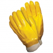 Memphis 6600 Single Dipped PVC Coated Gloves - Knit Wrist - Interlock Lined - Yellow