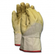 Memphis 6800 Single Latex Dip Gloves - Interlock Lined - Yellow - Duck Cuff